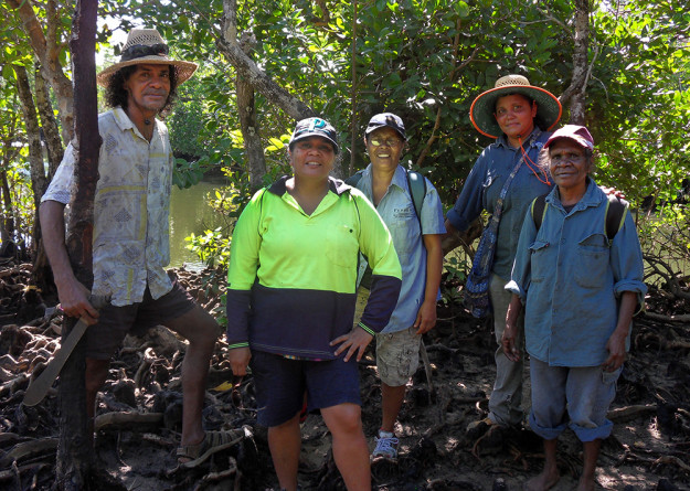 Leonard Andy, Rona Hart, Tina Hart, Whitney Rassip and neighbouring Girramay/Jirrbal Traditional Owner Jean Thaiday, next to Wongaling Creek on Djiru country. Littoral rainforest on Djiru country at Mission Beach is critically important for Djiru people and Gunduy, the endangered cassowary