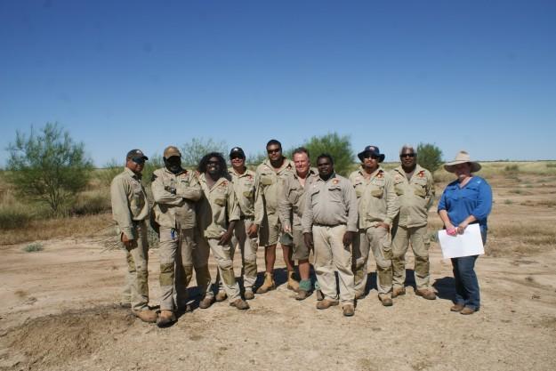 Gangalidda and Garawa Rangers with Dr Hugh Pringle and Larissa Lauder (SGC) on the field work survey exercise