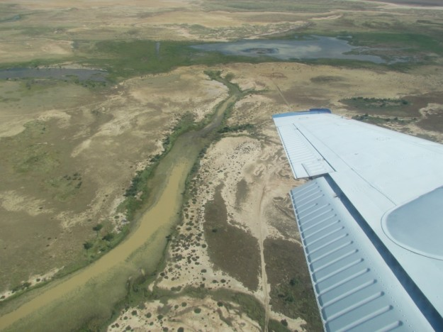 Gully leading into Woodslake and aerial photo from flight survey